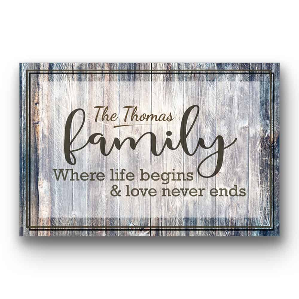 A Personalized Last Name Sign with the Quote Where Life Begins and Love Never Ends