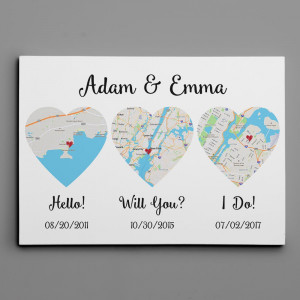 Hello – Will You – I Do – Standard Style – Map Canvas Print, Anniversary Gift