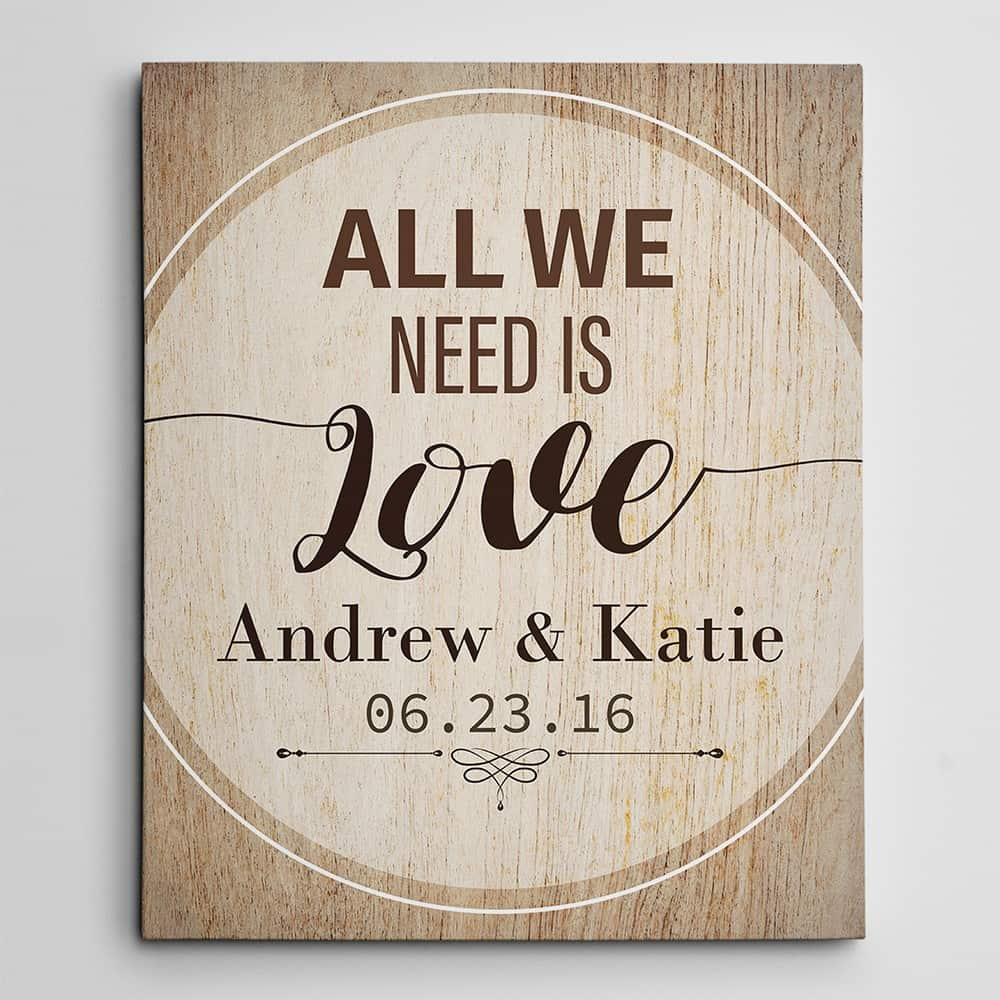 All We Need Is Love Personalized Canvas