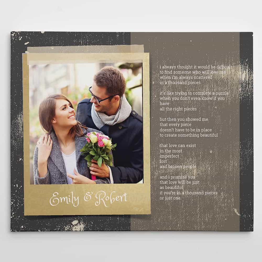 photo canvas prints with wedding vows on it