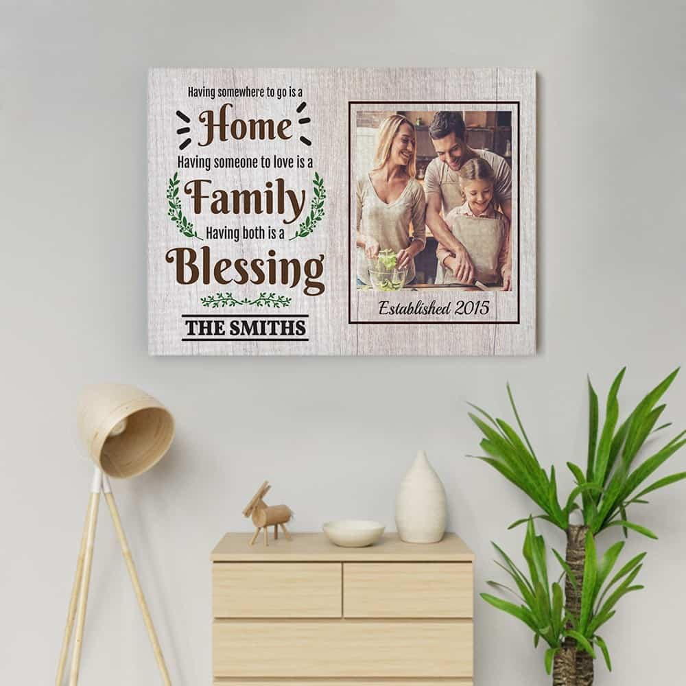 Home Family And Blessing Family Quote Custom Photo Canvas 365canvas