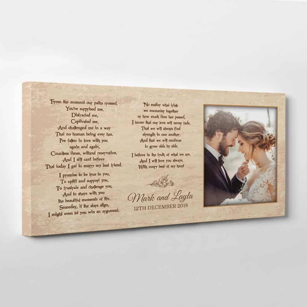 Wedding Vow Custom Photo Canvas Print