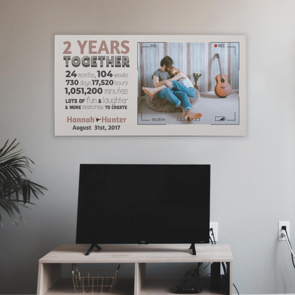 Two Years Together 2nd Anniversary Custom Photo Canvas
