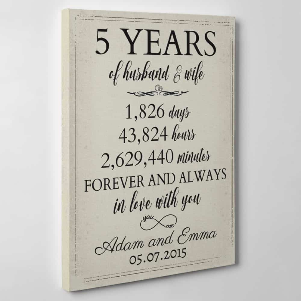 5 Years Of Husband and Wife 5th Anniversary Custom Canvas Gift