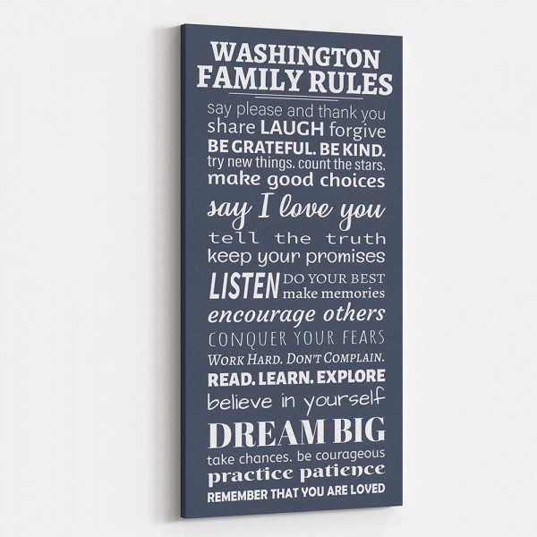 Family Rules Say Please And Thank You Custom Canvas