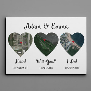 Hello – Will You – I Do Map Satellite Style Canvas Print, Anniversary Gift