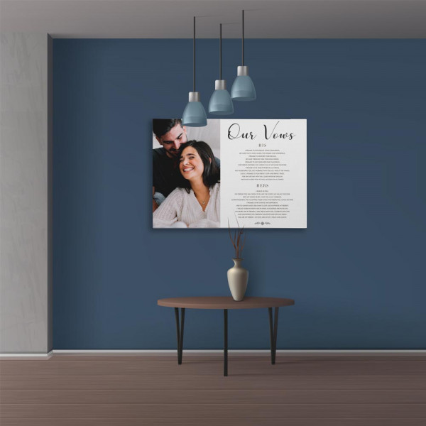 Our Vows Anniversary Custom Photo Canvas