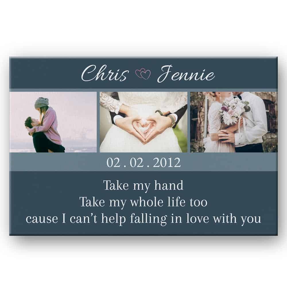 Take My Hand Take My Whole Life Too Custom Photo Canvas - Anniversary Gift