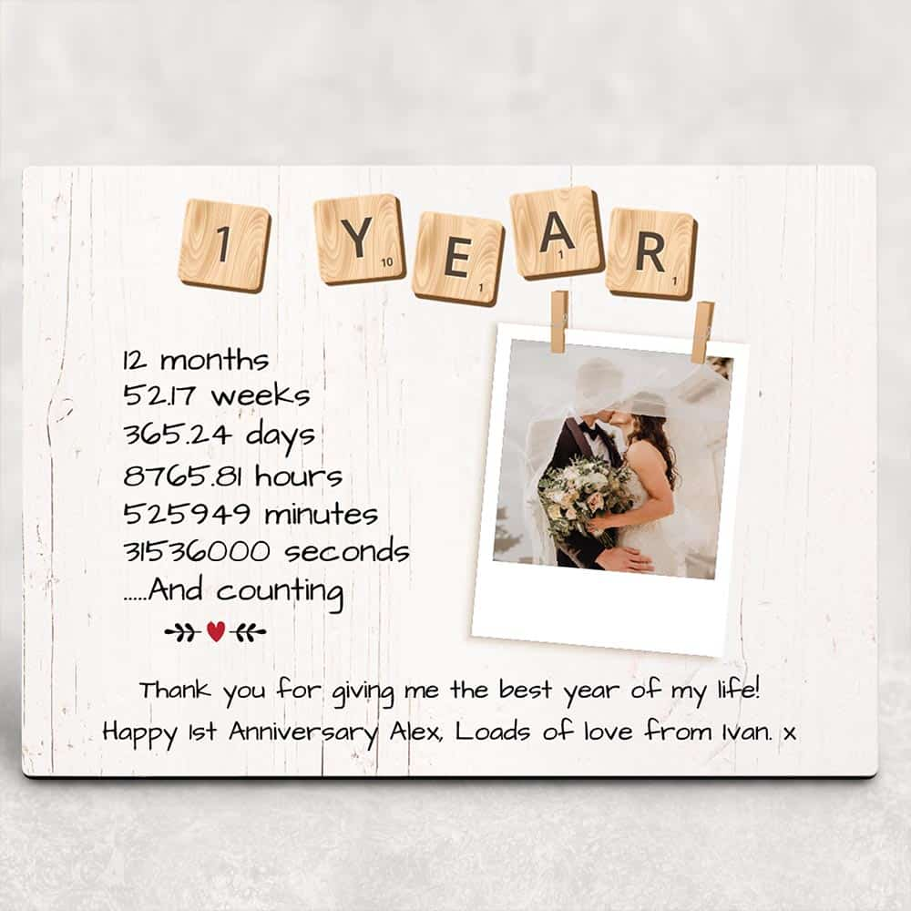 1 Year Anniversary Custom Desktop Photo Plaque 365canvas