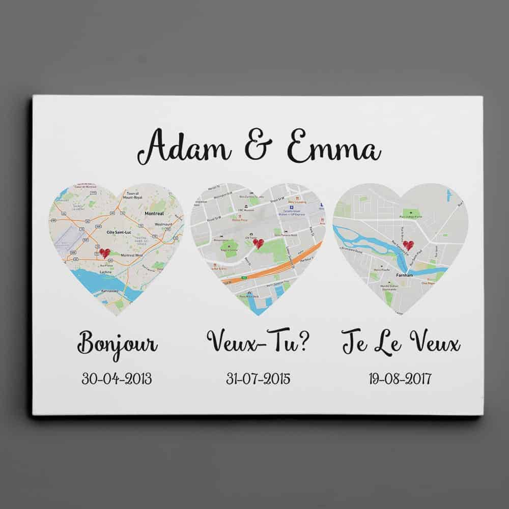 (French) Hello – Will You – I Do Map – Retro Style – Canvas Print, Anniversary Gift