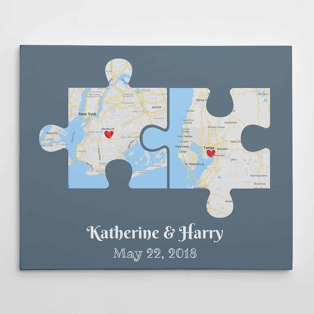 Couple Puzzle Map Canvas – Canvas Print, Anniversary Gift