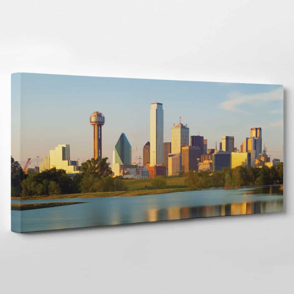 dallas texas skyline panoramic canvas wall art
