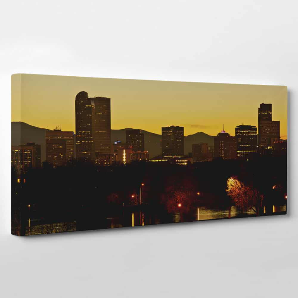 Denver, Colorado Skyline Canvas Wall Art - dusk