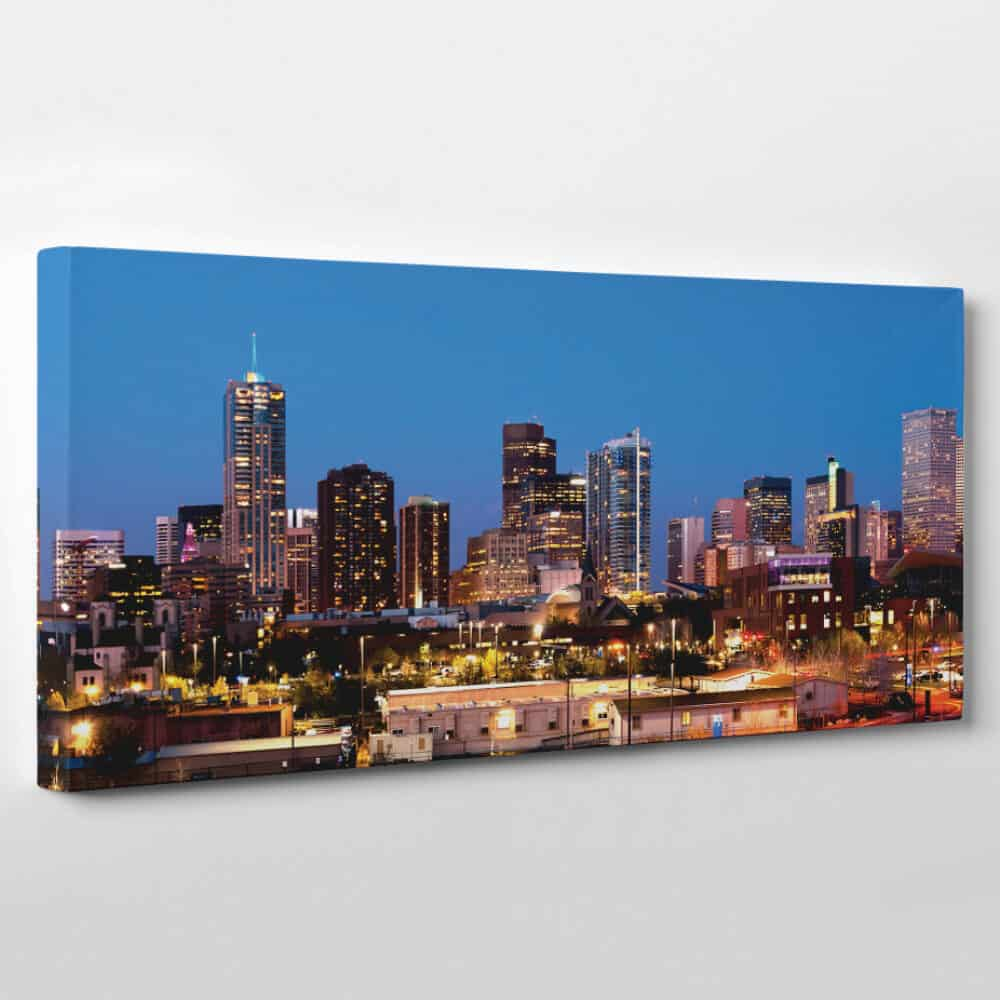 Denver, Colorado Skyline Canvas Wall Art - buildings with light at night