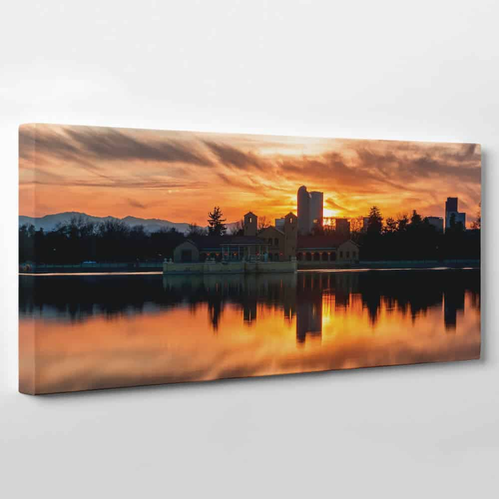 Denver, Colorado Skyline Canvas Wall Art - lake at dusk
