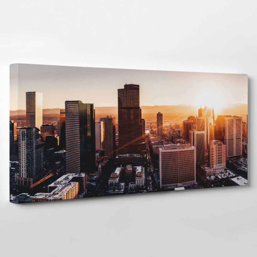Denver, Colorado Skyline Canvas Wall Art - city skyscrapers at dawn