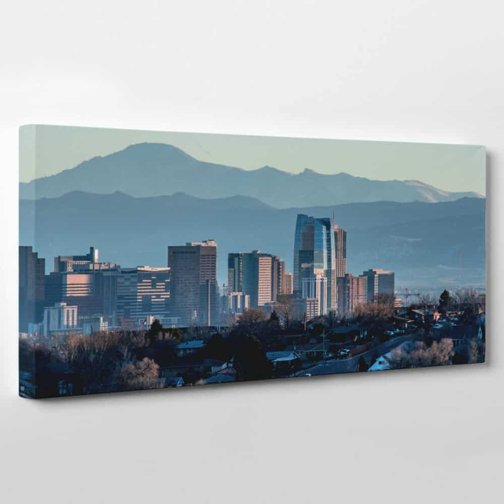 Denver, Colorado Skyline Canvas Wall Art - mountain at dawn