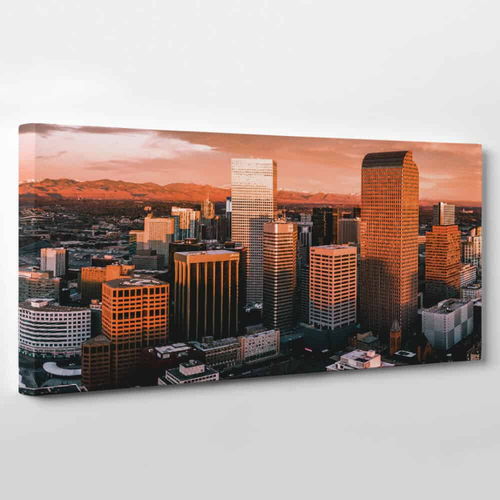Denver, Colorado Skyline Canvas Wall Art - skyscrapers at twilight