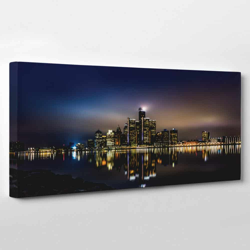 detroit michigan skyline panoramic canvas wall art