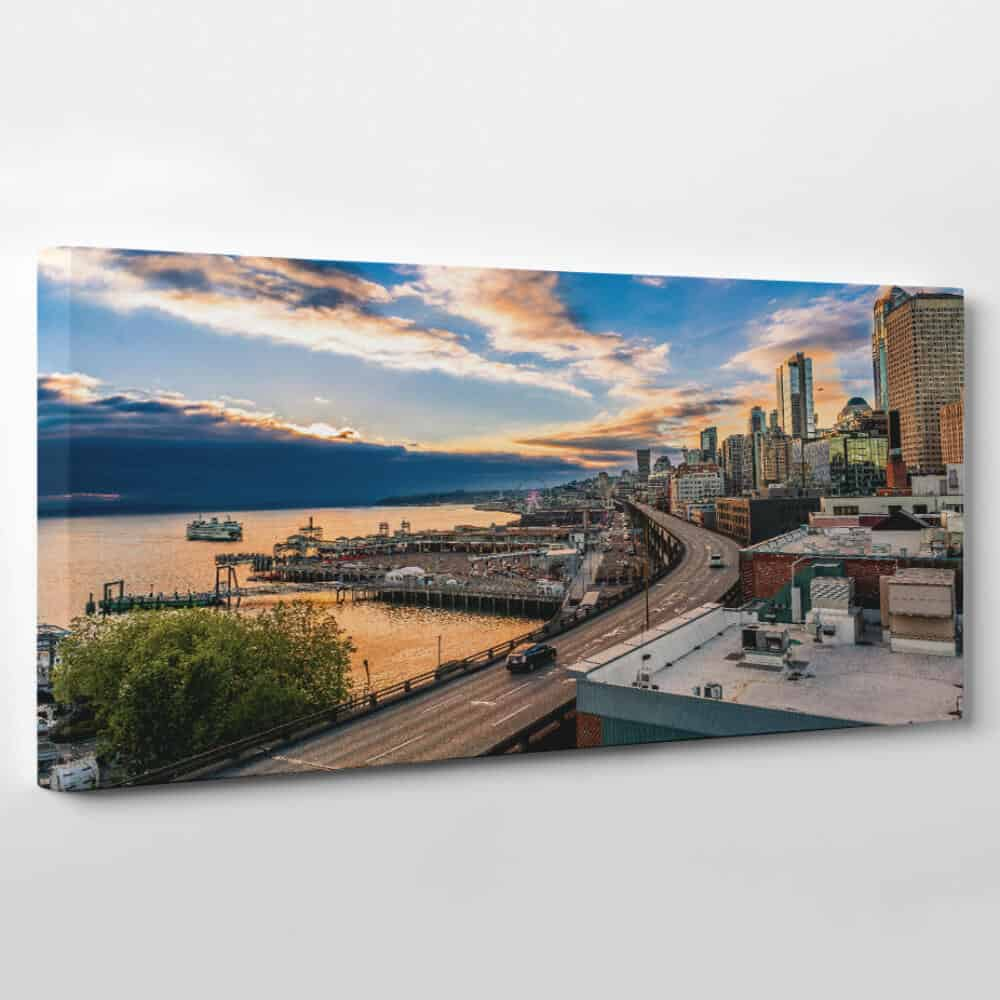 seattle washington skyline panoramic canvas wall art