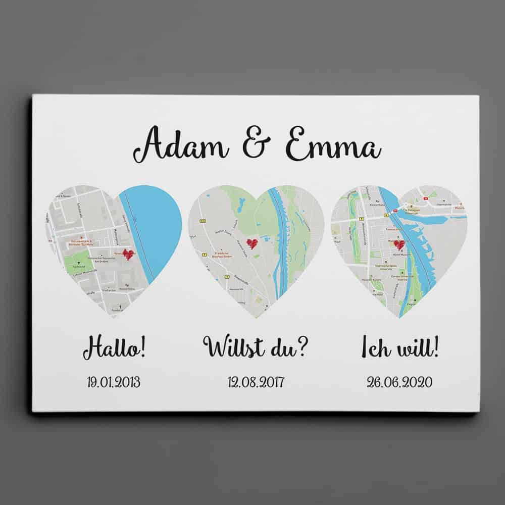 (German) Hello – Will You – I Do Map Canvas Print, Anniversary Gift