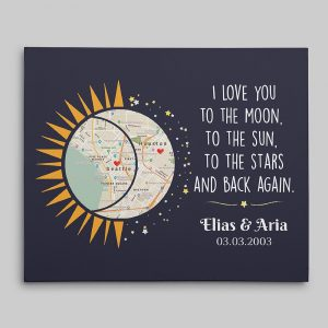 I Love You To The Moon And Back Custom Map Canvas Print