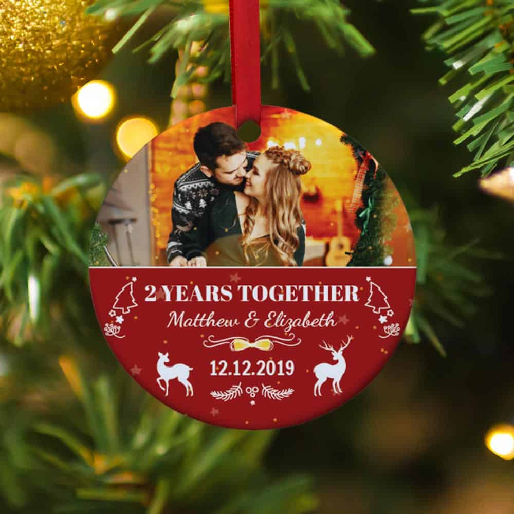 Anniversary By Year Personalized Photo Christmas Ornament