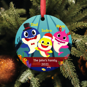 Baby Shark Family Personalized Christmas Ornament