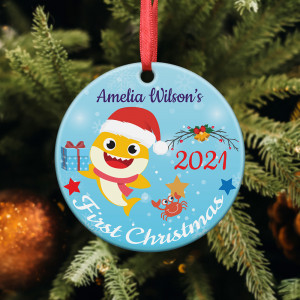 Baby's First Christmas Baby Shark Personalized Ornament
