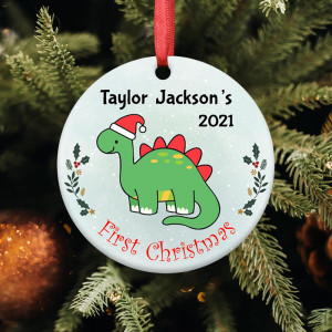 Baby's First Christmas Dinosaur Personalized Ornament