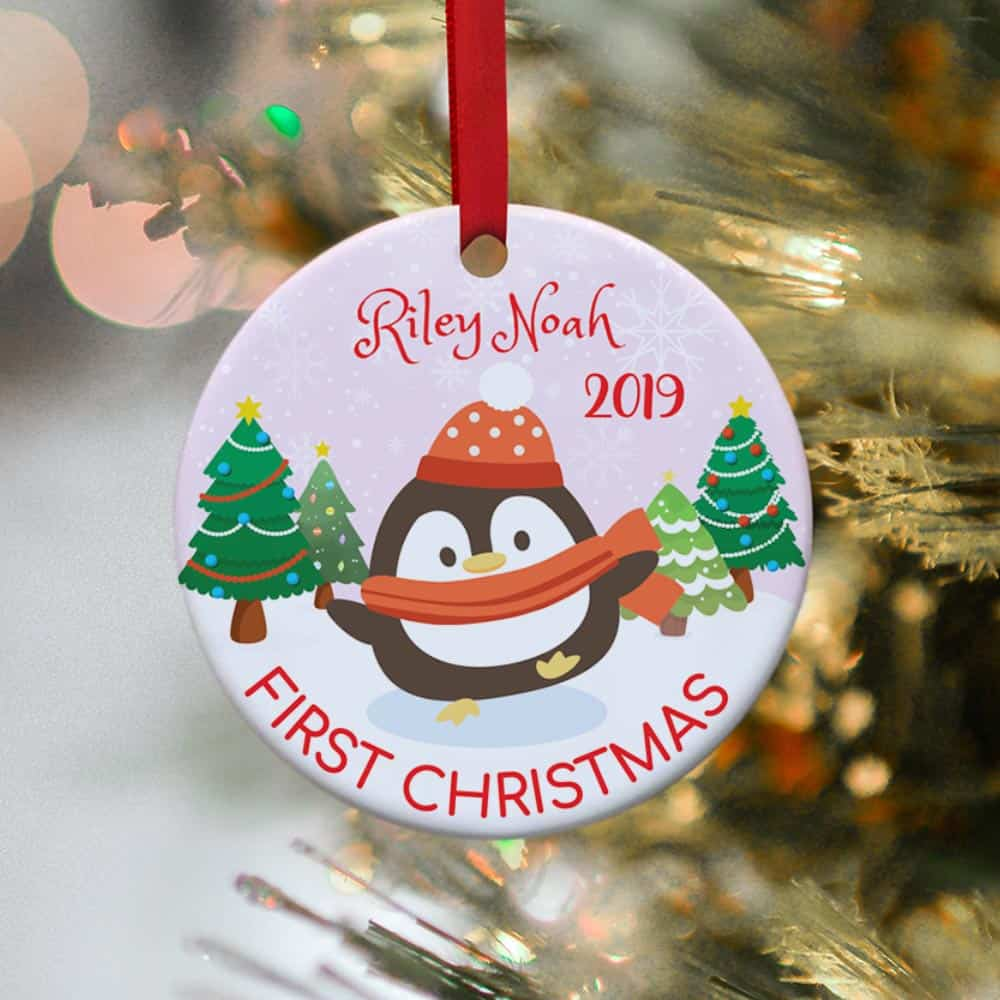 Christmas Ornaments Personalized.Baby S First Christmas Penguin Personalized Ornament