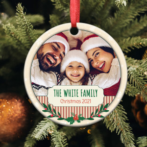 Personalized Family Photo Christmas Ornament 2021