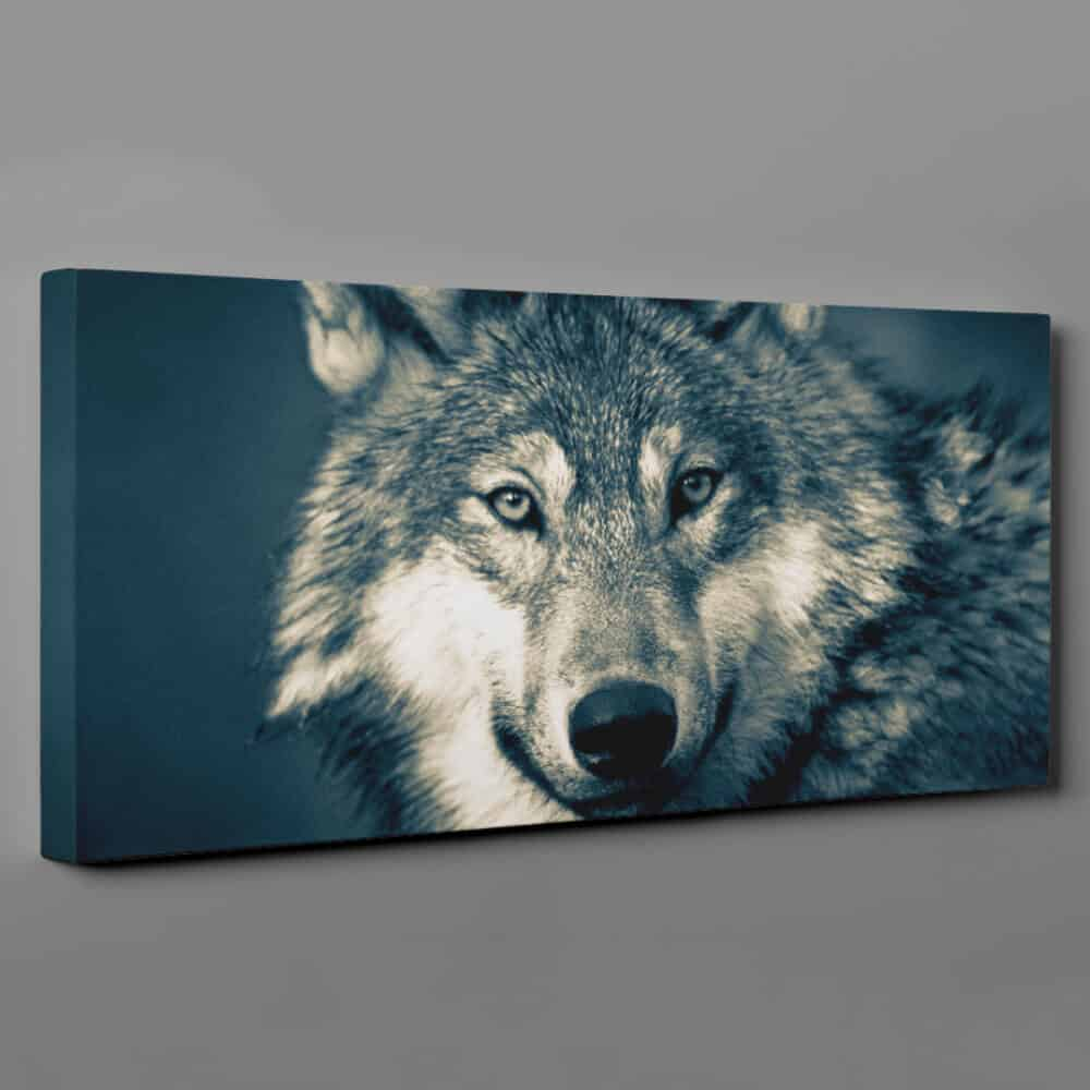 Wolf In Forest - Close Up Sepia Large Canvas Wall Art
