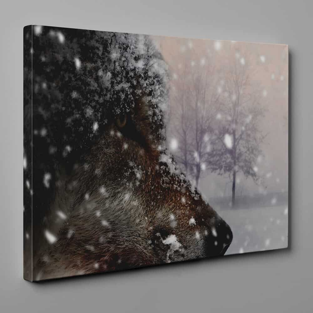 Wolf In The Snow Portrait Canvas Wall Art