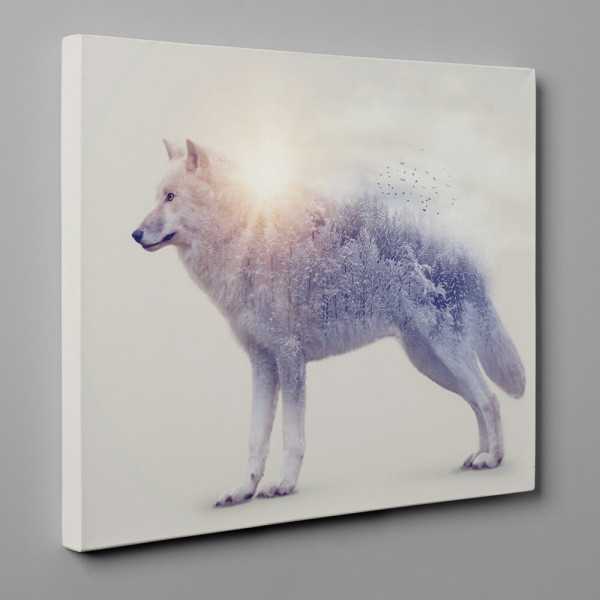 Wolf And Forest Double Exposure Canvas Wall Art