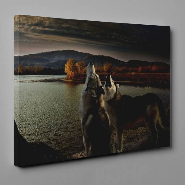 Wolves Howling By The Lake On The Autumn Riverbank Canvas Wall Art