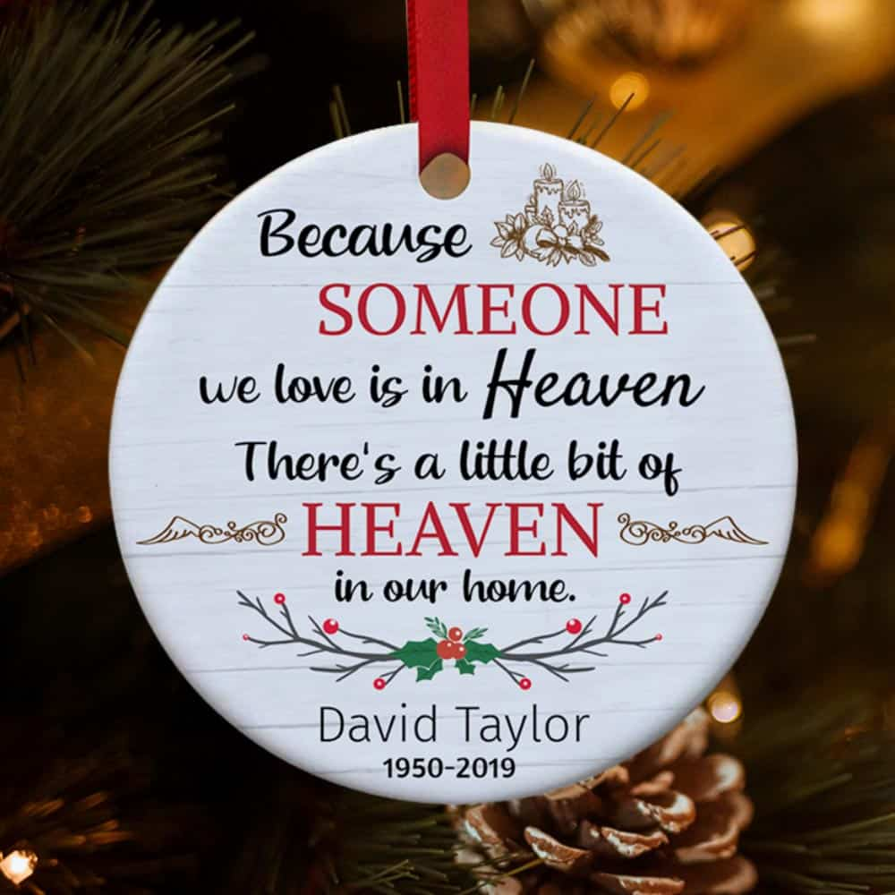 because someone we love is in heaven custom photo christmas ornament - memorial gift idea