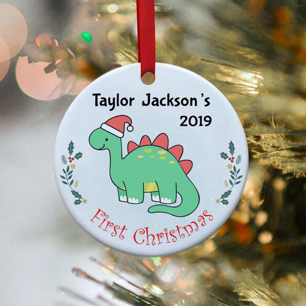 baby's first christmas dinosaur ornament