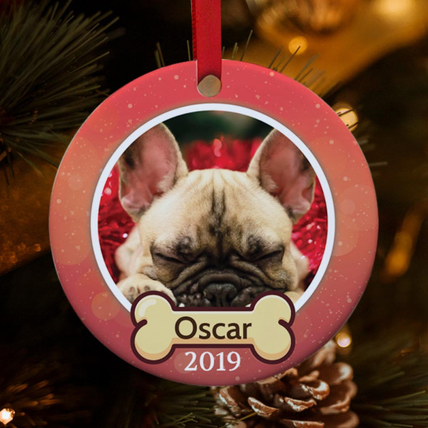 Personalized dog photo christmas ornament - christmas gift idea for pet lovers