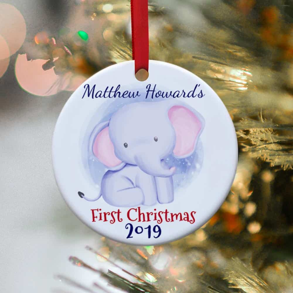cute elephant baby first christmas personalized christmas ornament