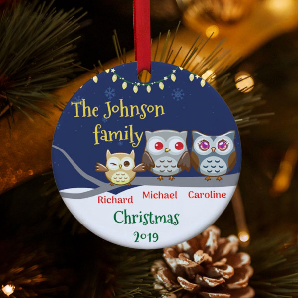 Personalized Owl Family Christmas Ornament - 1 kid