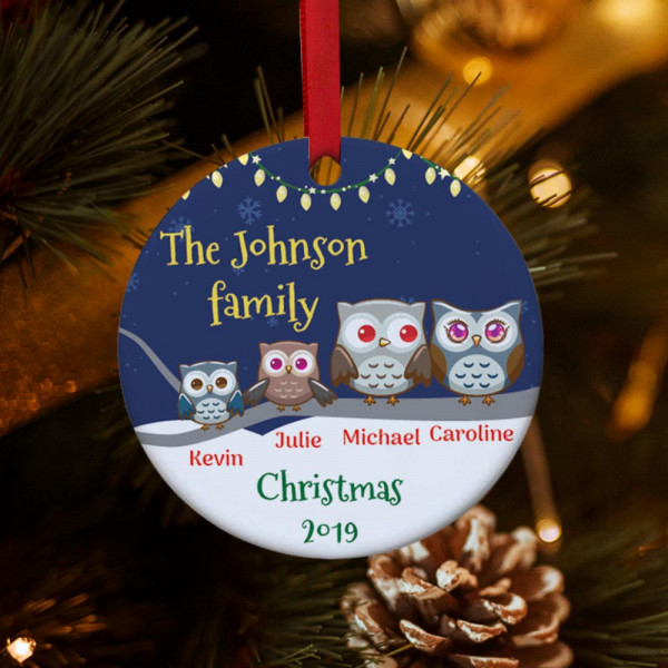 Personalized Owl Family Christmas Ornament - 2 kids