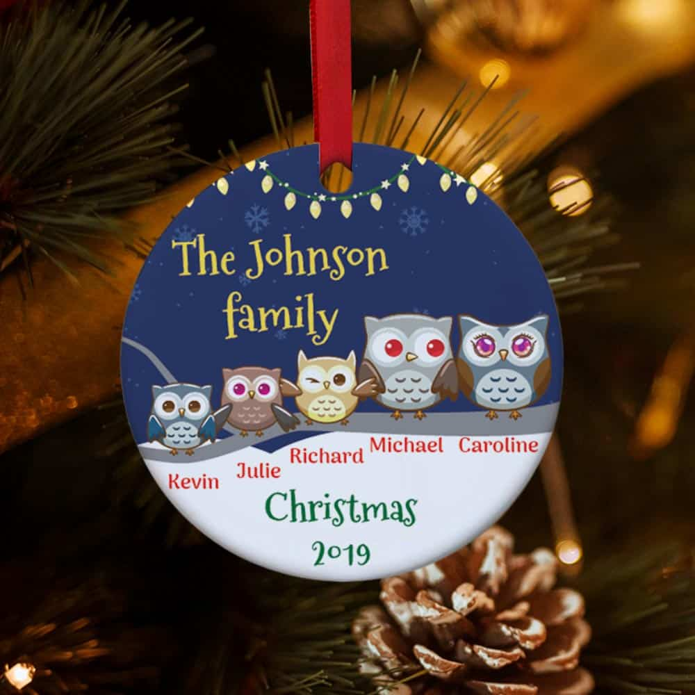 Personalized Owl Family Christmas Ornament - 3 kids