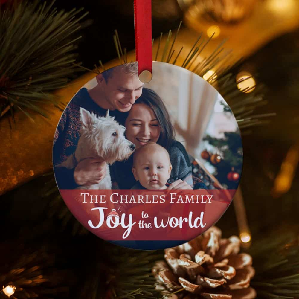 christmas gift idea / 9th anniversary gift for couple - family photo custom christmas ornament