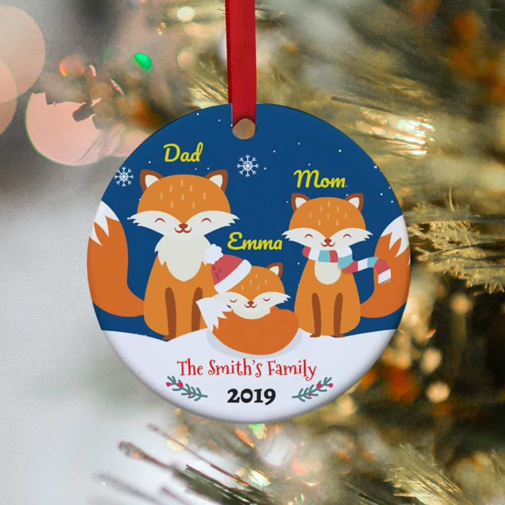 Fox Family Personalized Christmas Ornament - 1 kid