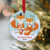 Fox Family Personalized Christmas Ornament - 2 kids