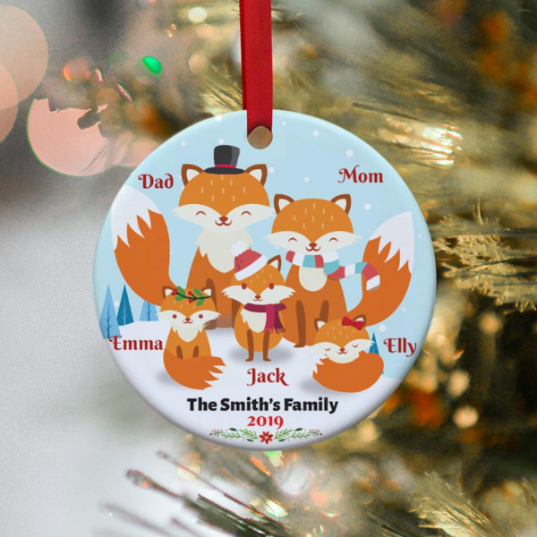 Fox Family Personalized Christmas Ornament - 3 kids