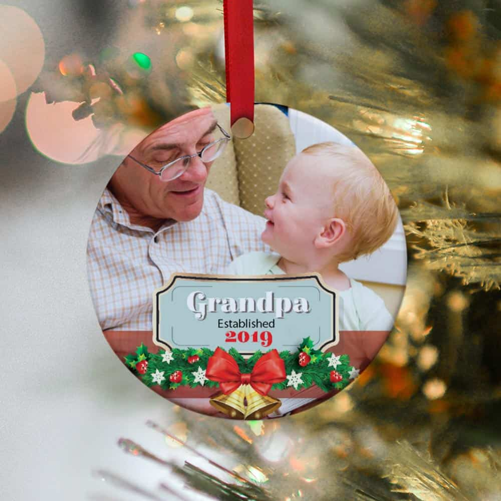 grandpa established personalized photo christmas ornament - christmas gift idea for grandpa