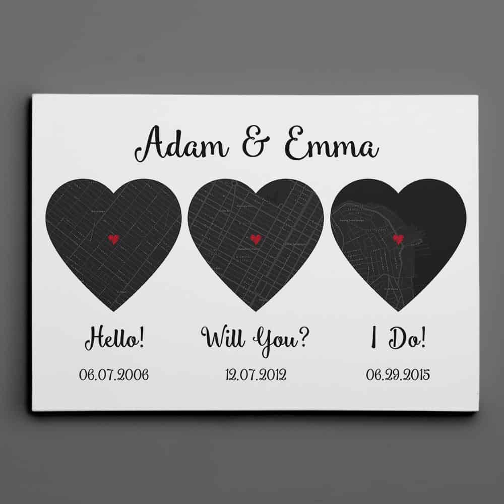 Hello – Will You – I Do – Black and White Style – Map Canvas Wall Art Print, Anniversary Gift