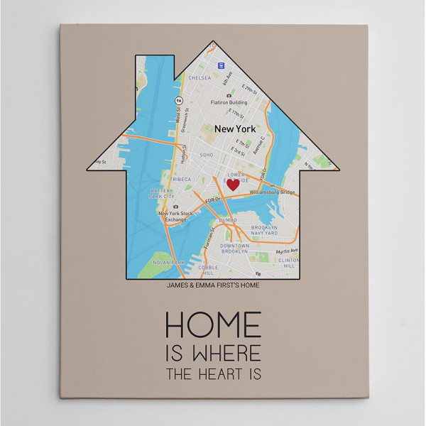 home is where the heart is map wall art custom canvas print